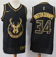 Milwaukee Bucks #34 Giannis Antetokounmpo Black/Gold NBA Swingman Limited Edition Jersey