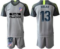 Atletico Madrid #13 Oblak Grey Goalkeeper Soccer Club Jersey