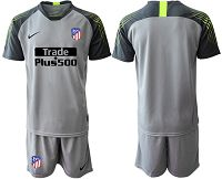 Atletico Madrid Blank Grey Goalkeeper Soccer Club Jersey