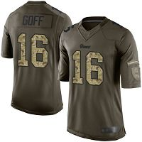 Los Angeles Rams #16 Jared Goff Green Men's Stitched NFL Limited 2015 Salute to Service Jersey