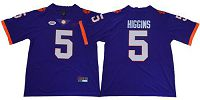 Women's Clemson Tigers #5 Tee Higgins Purple Limited Stitched NCAA Jersey