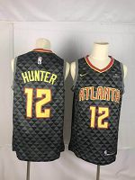 Men's Nike Atlanta Hawks #12 De'Andre Hunter Black Fast Break Icon Edition Jersey