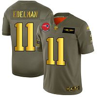 Men's New England Patriots #11 Julian Edelman Camo/Gold Stitched NFL Limited 2019 Salute To Service Jersey