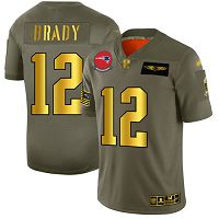 Men's New England Patriots #12 Tom Brady Camo/Gold Stitched NFL Limited 2019 Salute To Service Jersey
