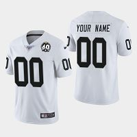 Men's Nike Oakland Raiders #00 Custom 100th and 60th Anniversary Vapor Limited White Jersey