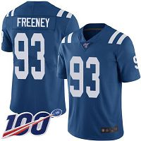 Men's Nike Indianapolis Colts #93 Dwight Freeney Limited Home Football Royal Blue 100th Season Vapor Untouchable NFL Jersey