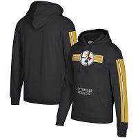 Pittsburgh Steelers Mitchell & Ness Three Stripe NFL Pullover HoodieBlack NFL Pullover Hoodie