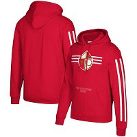 San Francisco 49ers Mitchell & Ness Three Stripe NFL Pullover HoodieScarlet NFL Pullover Hoodie