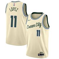 Milwaukee Bucks #11 Brook Lopez Cream NBA Swingman City Edition 2019/20 Jersey