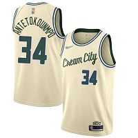 Milwaukee Bucks #34 Giannis Antetokounmpo Cream NBA Swingman City Edition 2019/20 Jersey