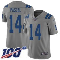 Men's Nike Indianapolis Colts #14 Zach Pascal Limited NFL Gray 100th Season Inverted Legend Jersey