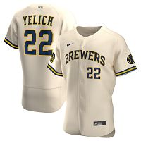 Men's Milwaukee Brewers #22 Christian Yelich Nike Cream Alternate 2020 Player Jersey