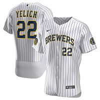 Men's Milwaukee Brewers #22 Christian Yelich Nike White Home 2020 Player Jersey