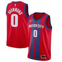 Men's Nike Detroit Pistons #0 Andre Drummond 2019-20 City Edition Red Jersey