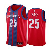 Men's Nike Detroit Pistons #25 Derrick Rose 2019-20 City Edition Red Jersey