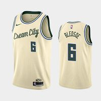 Men's Nike Milwaukee Bucks #6 Eric Bledsoe 2019-20 Cream City Edition Jersey