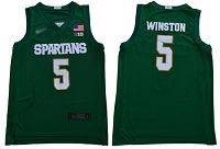Michigan State Spartans #5 Cassius Winston Green 2019 Basketball Stitched NCAA Jersey