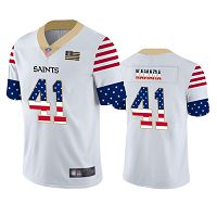 New Orleans Saints #41 Alvin Kamara White Men's Stitched NFL Limited Independence Day Jersey