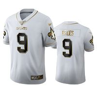 New Orleans Saints #9 Drew Brees White Men's Stitched NFL Limited Golden Edition Jersey