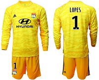 Lyon #1 Lopes Yellow Goalkeeper Long Sleeves Soccer Club Jersey