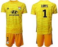Lyon #1 Lopes Yellow Goalkeeper Soccer Club Jersey