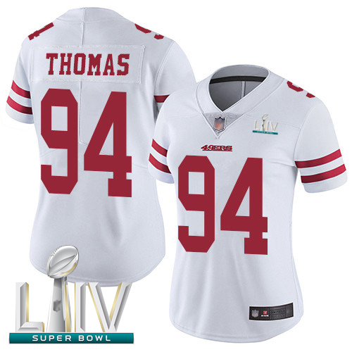 San Francisco 49ers #94 Solomon Thomas White Super Bowl LIV Bound Women's Stitched NFL Vapor Untouchable Limited Jersey