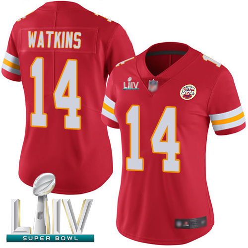 Kansas City Chiefs #14 Sammy Watkins Red Team Color Super Bowl LIV Bound Women's Stitched NFL Vapor Untouchable Limited Jersey