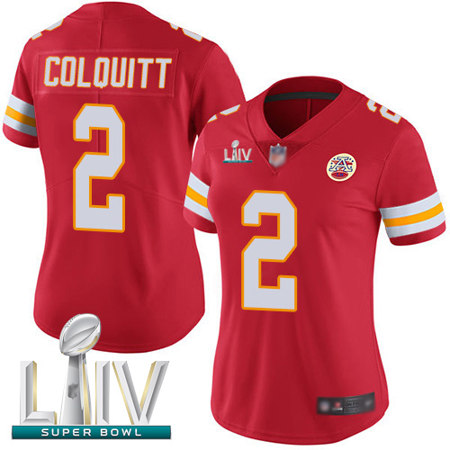 Kansas City Chiefs #2 Dustin Colquitt Red Team Color Super Bowl LIV Bound Women's Stitched NFL Vapor Untouchable Limited Jersey