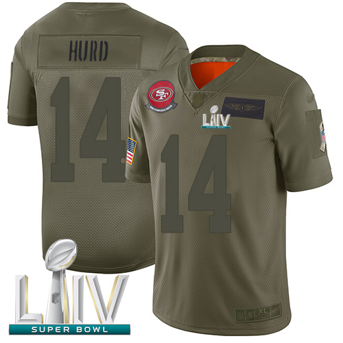 San Francisco 49ers #14 Jalen Hurd Camo Super Bowl LIV Bound Youth Stitched NFL Limited 2019 Salute to Service Jersey