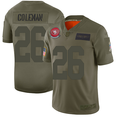 San Francisco 49ers #26 Tevin Coleman Camo Youth Stitched NFL Limited 2019 Salute to Service Jersey