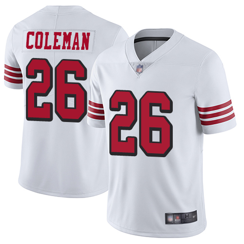 San Francisco 49ers #26 Tevin Coleman White Rush Youth Stitched NFL Vapor Untouchable Limited Jersey