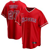 Men's Nike Los Angeles Angels #27 Mike Trout Red Alternate 2020 MLB Jersey