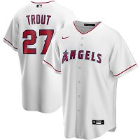 Men's Nike Los Angeles Angels #27 Mike Trout White Home 2020 MLB Jersey