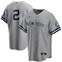 Men's Nike New York Yankees A#2 Derek Jeter Gray 2020 Hall of Fame Induction MLB Jersey