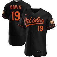 Men's Nike Baltimore Orioles #19 Chris Davis Black Alternate 2020 Authentic Player MLB Jersey
