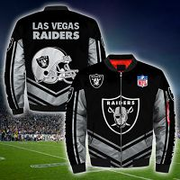 Men's Las Vegas Raiders Newest Bomber 3D Fullzip Custom Jacket 03