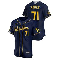 Men's Nike Milwaukee Brewers #71 Josh Hader Navy Alternate 2020 MLB Jersey