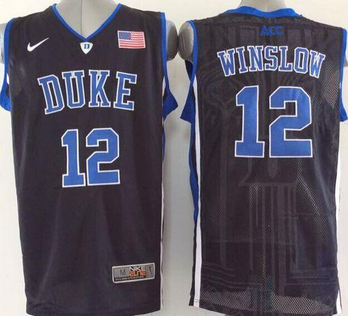 Duke Blue Devils #12 Justise Winslow Black Basketball Stitched NCAA Jersey