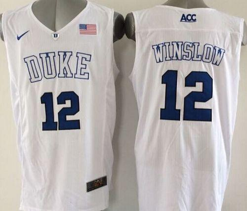 Duke Blue Devils #12 Justise Winslow White Basketball Elite Stitched NCAA Jersey