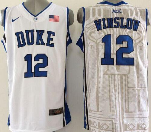 Duke Blue Devils #12 Justise Winslow White Basketball New Stitched NCAA Jersey