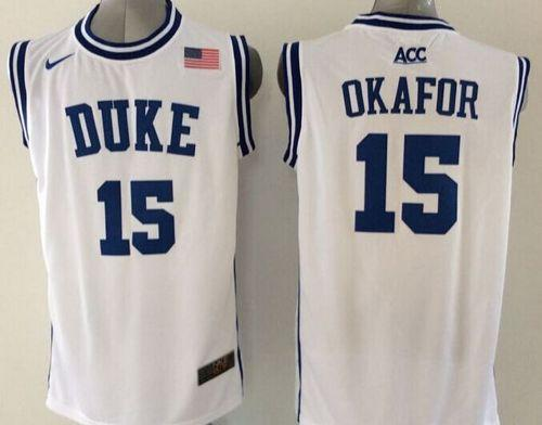 Duke Blue Devils #15 Jahlil Okafor White Basketball New Stitched NCAA Jersey