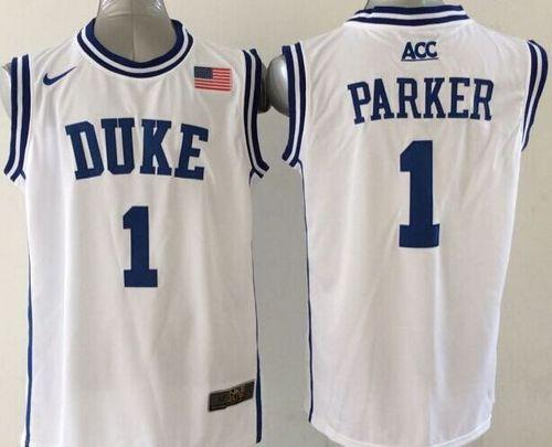 Duke Blue Devils #1 Jabari Parker White Basketball New Stitched NCAA Jersey