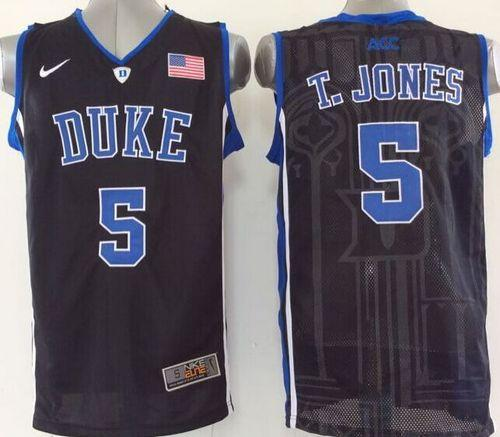 Duke Blue Devils #5 Tyus Jones Black Basketball Stitched NCAA Jersey