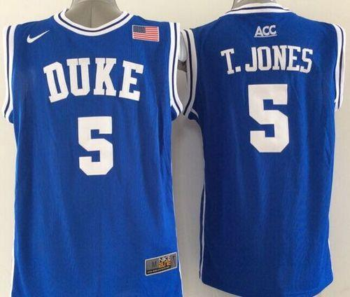 Duke Blue Devils #5 Tyus Jones Blue Basketball New Stitched NCAA Jersey