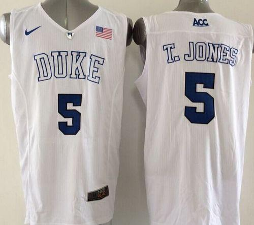 Duke Blue Devils #5 Tyus Jones White Basketball Elite Stitched NCAA Jersey