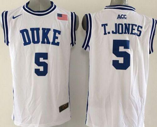 Duke Blue Devils #5 Tyus Jones White Basketball New Stitched NCAA Jersey