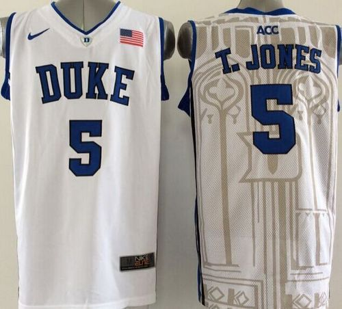 Duke Blue Devils #5 Tyus Jones White Basketball Stitched NCAA Jersey