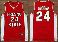 Fresno State Bulldogs #24 Paul George Red Basketball Stitched NCAA Jersey