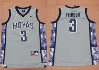 Georgetown Hoyas #3 Allen Iverson Grey New Basketball Stitched NCAA Jersey
