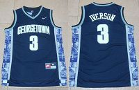 Georgetown Hoyas #3 Allen Iverson Navy Blue New Basketball Stitched NCAA Jersey